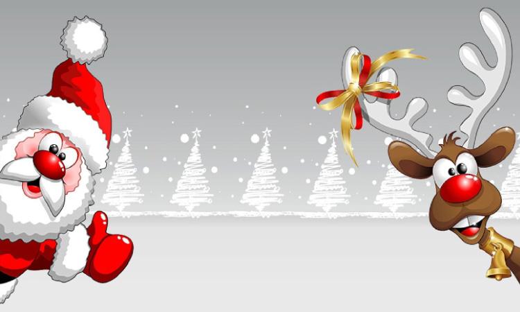 cartoon santa and reindeer with white christmas trees