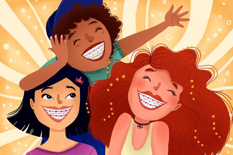 3 smiling cartoon girls in braces